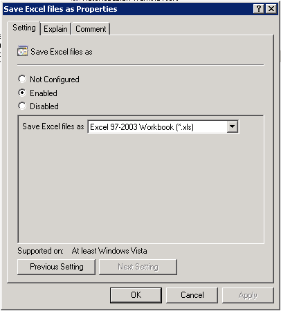 Group Policy Editor - Excel 2007 ADM