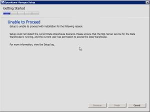 SCOM 2012SP1 Installation Error